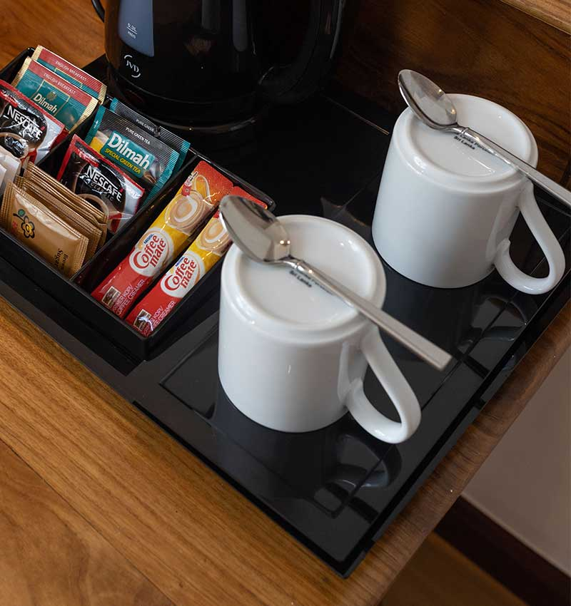 Complimentary in-room tea set at Deluxe room