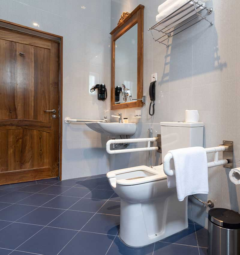 Deluxe family room bathroom with modern amenities