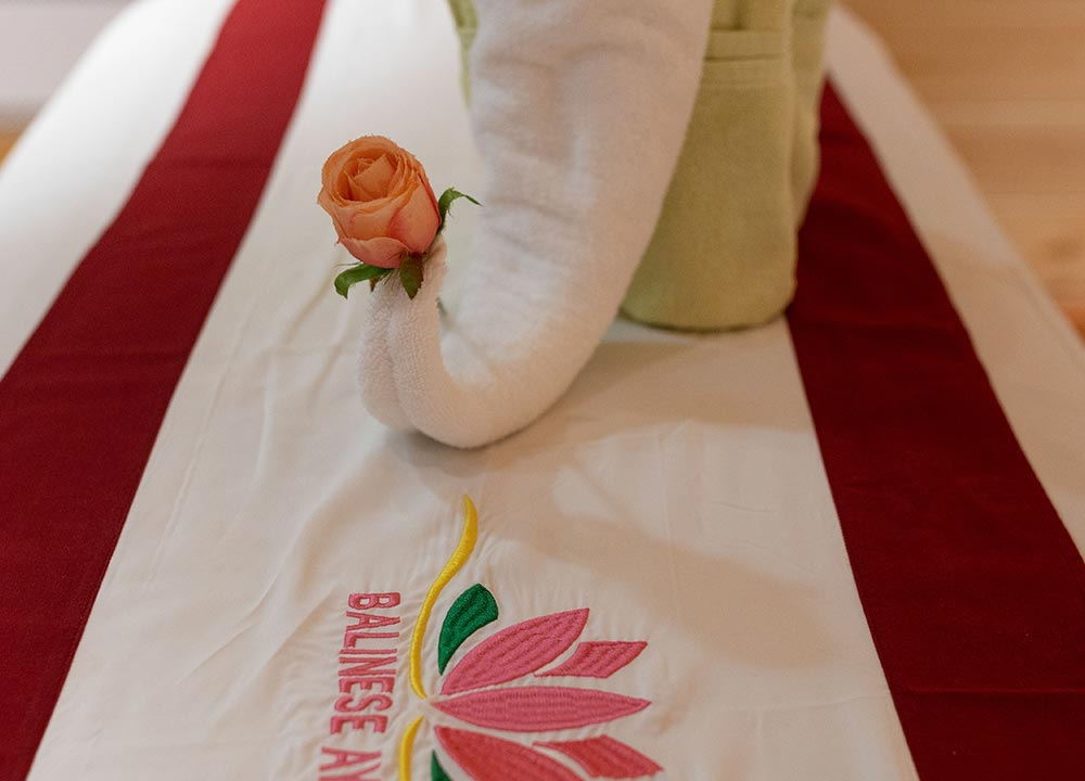 Spa massage robes on a spa table